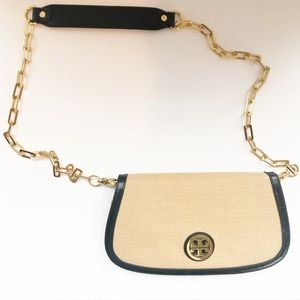 Tory Burch Amanda Raffia & Black Leather Crossbody